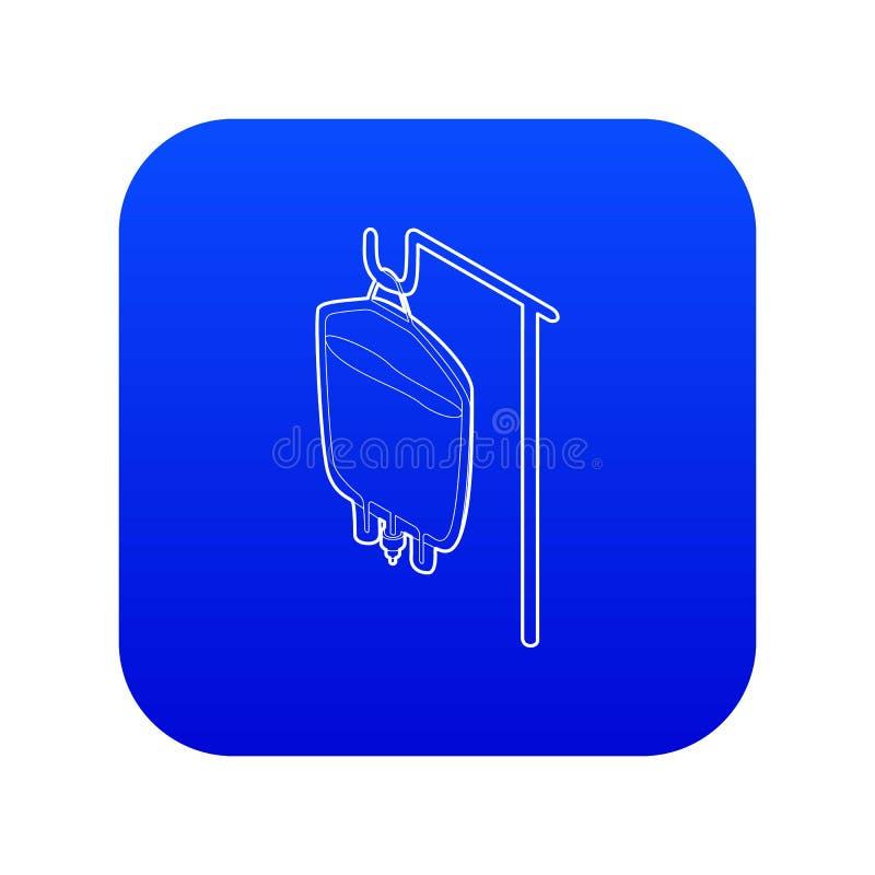 Paquet pour le vecteur bleu d'icône de transfusion sanguine illustration libre de droits