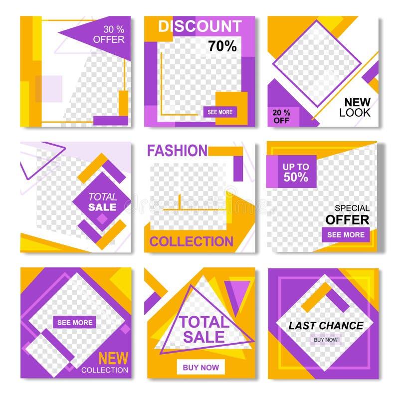 Paquet pour les insectes jaunes d'Instagram de rose de mode illustration stock