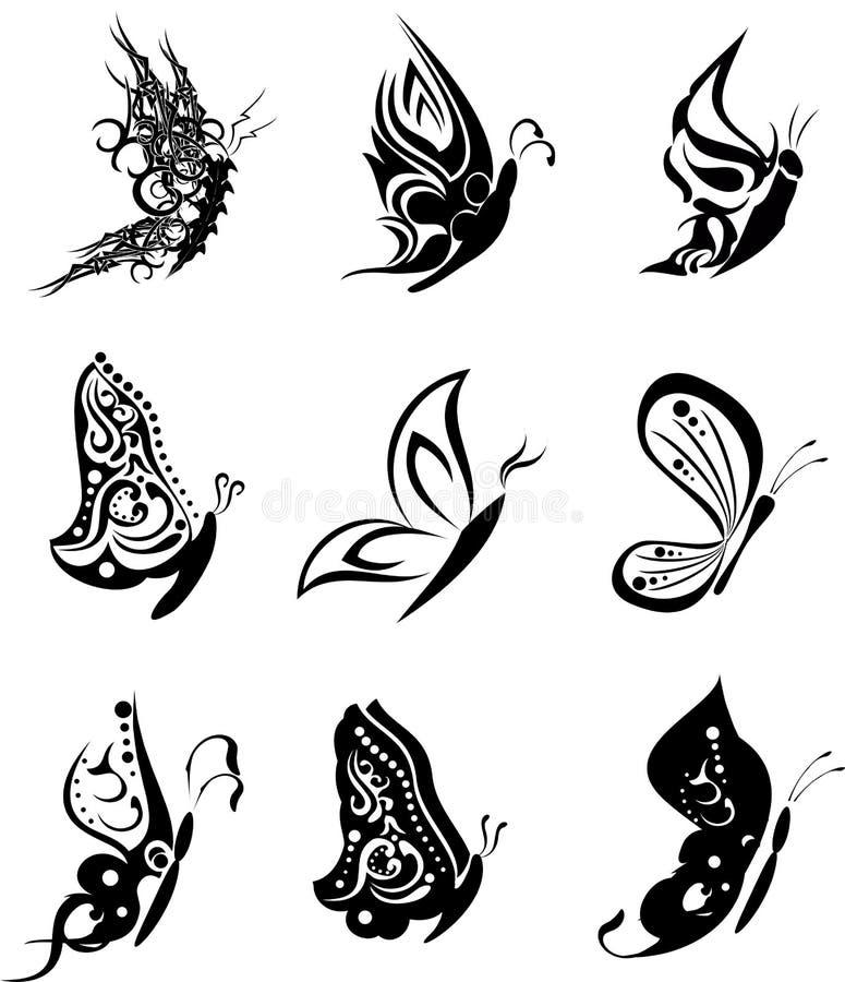 Download Paquet Réglé Stickers2 De Tatouage De Papillon Illustration de Vecteur - Illustration du beau, artistique: 45359688
