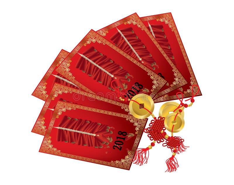 Paquet rouge chinois avec des pièces d'or illustration stock
