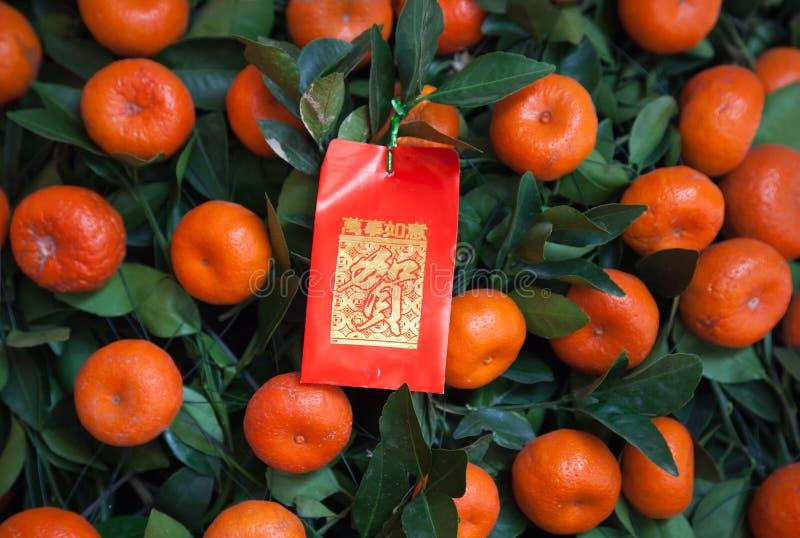 Paquet rouge chinois d'an neuf sur l'arbre de mandarines photo libre de droits