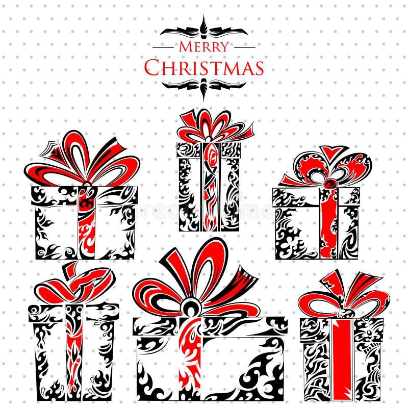 Paquet saint de cadeau de style de tatouage de Noël illustration stock