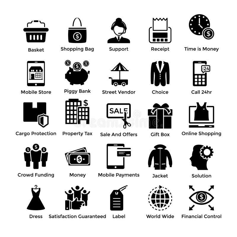 Paquet solide d'icônes d'achats illustration stock