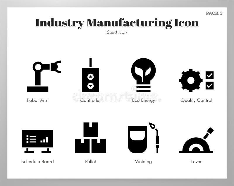Paquet solide d'icônes de fabrication d'industrie illustration de vecteur