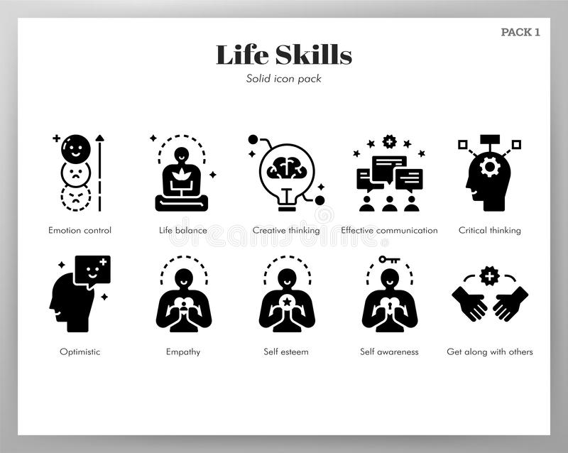 Paquet solide d'icônes de qualifications de la vie illustration libre de droits