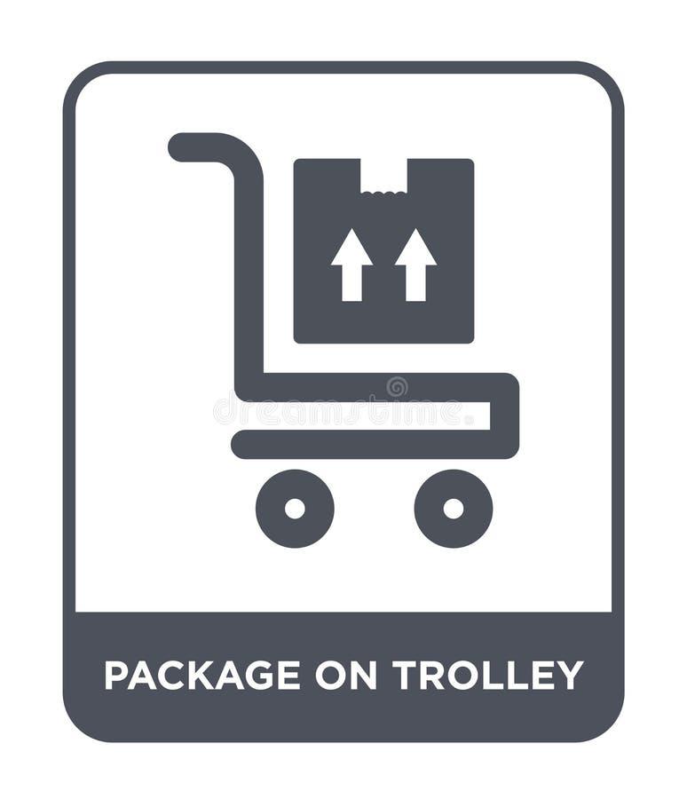 paquet sur l'icône de chariot dans le style à la mode de conception paquet sur l'icône de chariot d'isolement sur le fond blanc p illustration de vecteur