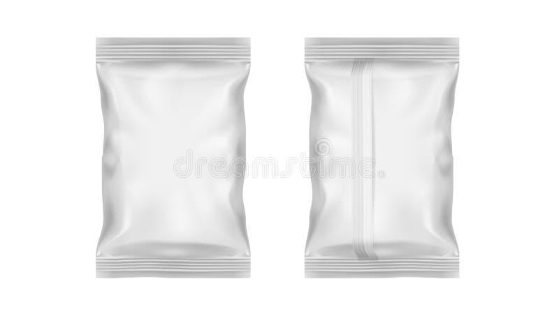 Paquet transparent blanc d'aluminium pour le casse-croûte, les frites, la sucrerie ou toute autre nourriture illustration de vecteur