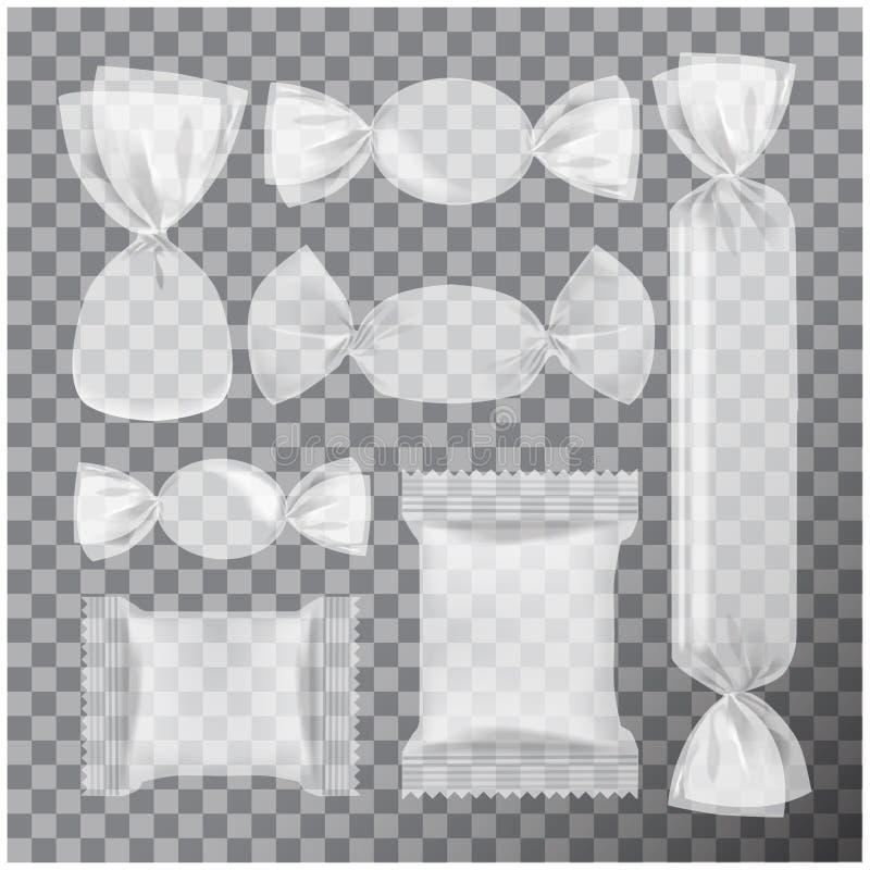 Paquet transparent d'aluminium pour des sucreries et d'autres produits, moquerie de paquet de casse-croûte de nourriture  illustration stock