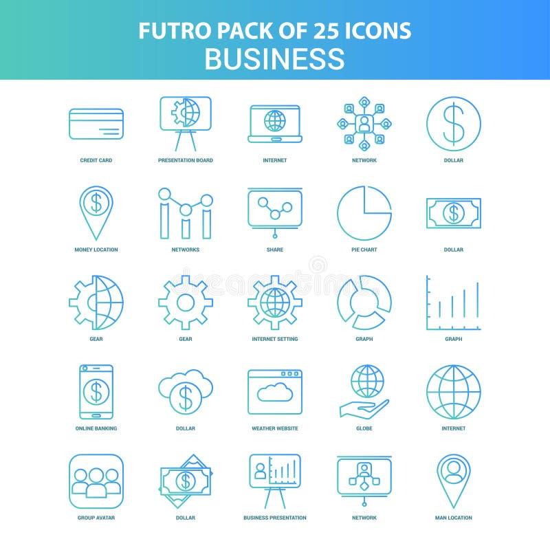 25 paquet vert et bleu d'icône d'affaires de Futuro illustration libre de droits