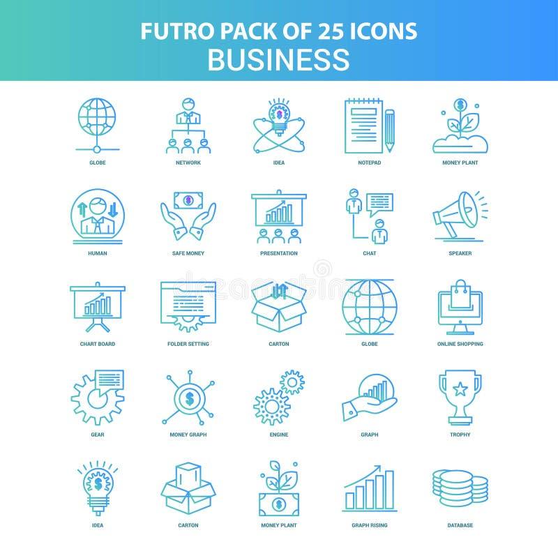 25 paquet vert et bleu d'icône d'affaires de Futuro illustration de vecteur