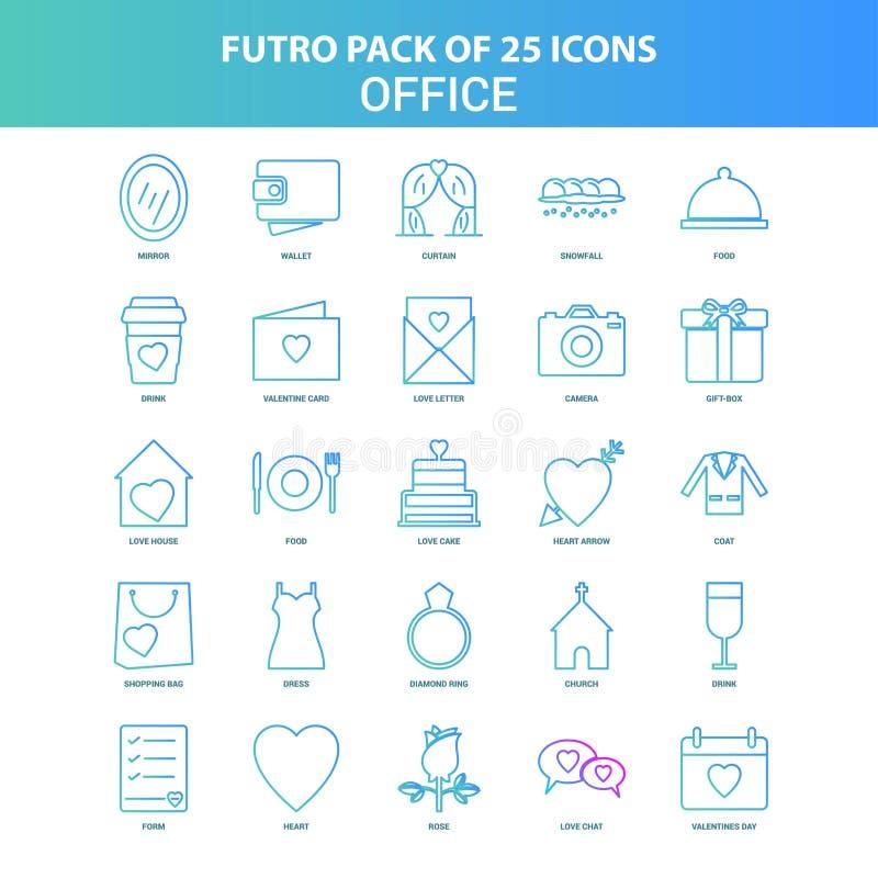 25 paquet vert et bleu d'icône de bureau de Futuro illustration de vecteur