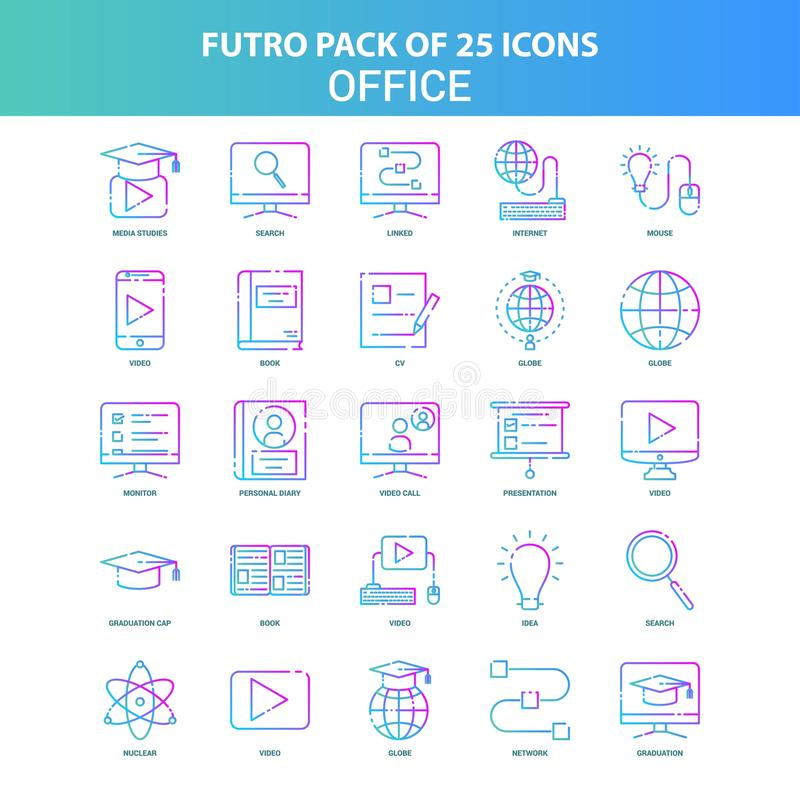 25 paquet vert et bleu d'icône de bureau de Futuro illustration libre de droits