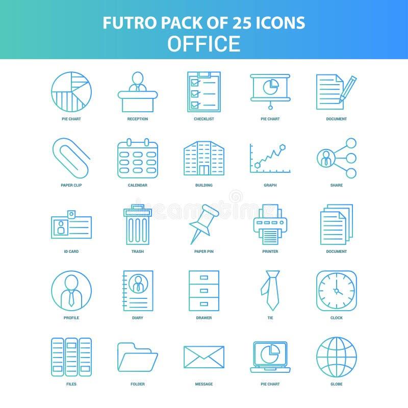 25 paquet vert et bleu d'icône de bureau de Futuro illustration stock
