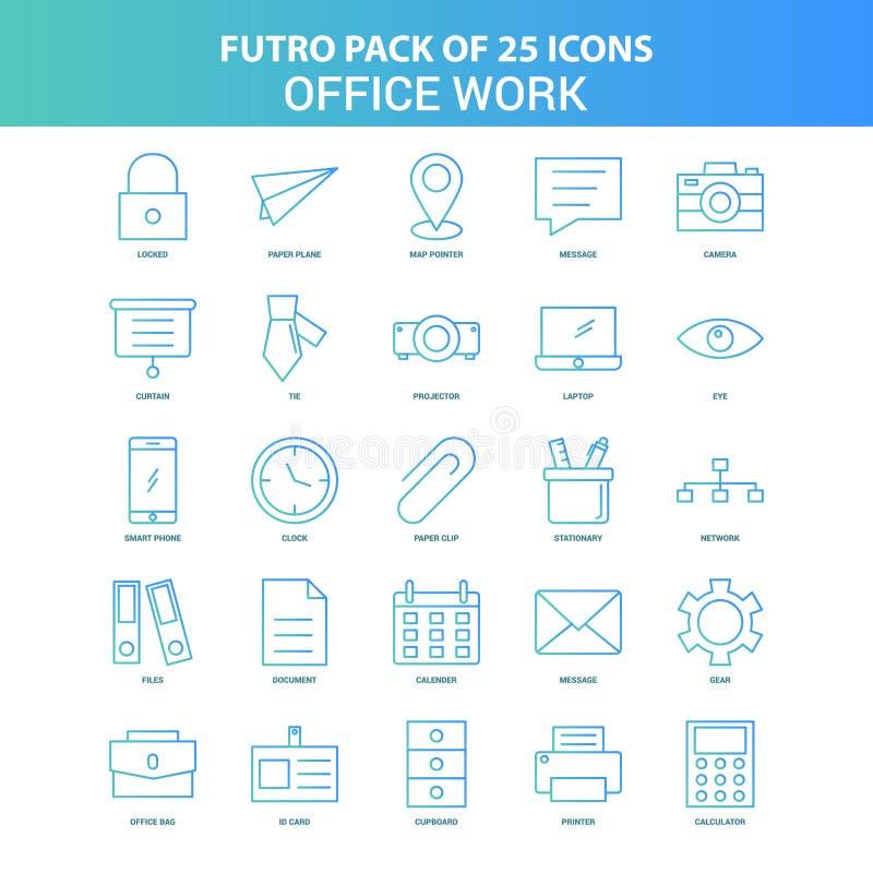 25 paquet vert et bleu d'icône de travail de bureau de Futuro illustration libre de droits