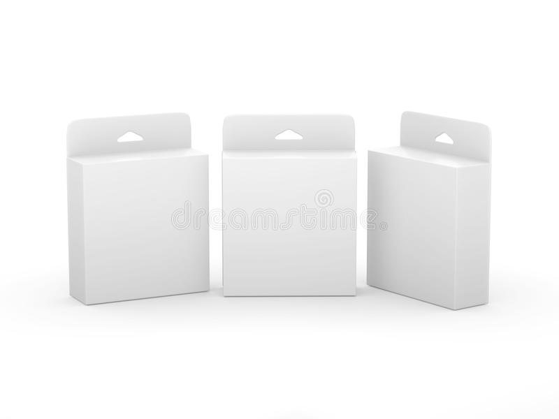 Paquet vide blanc de cartouche d'encre de boîte avec le chemin de coupure illustration libre de droits