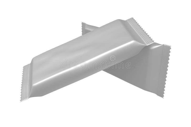 Paquet vide de calibre pour le petit casse-croûte, chocolat ou sucrerie Emballage en plastique illustration libre de droits