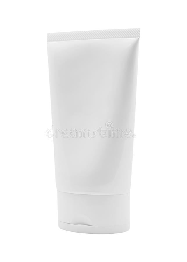 Paquet vide de lotion d'isolement sur le fond blanc Tube de produit de soins de la peau pour la conception Chemin de coupure photographie stock
