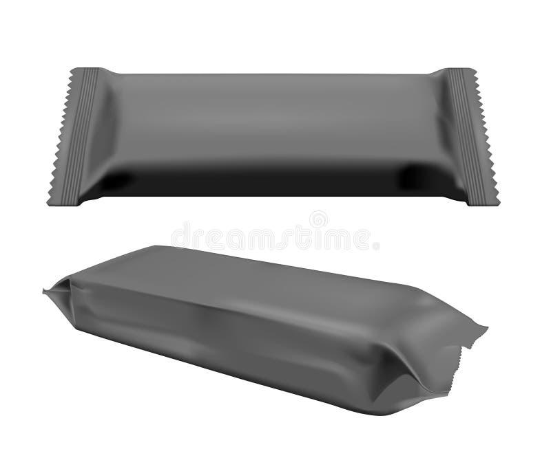 Paquet vide noir de casse-croûte de nourriture d'aluminium pour les frites, la sucrerie et d'autres produits Mouillez l'empaqueta illustration de vecteur