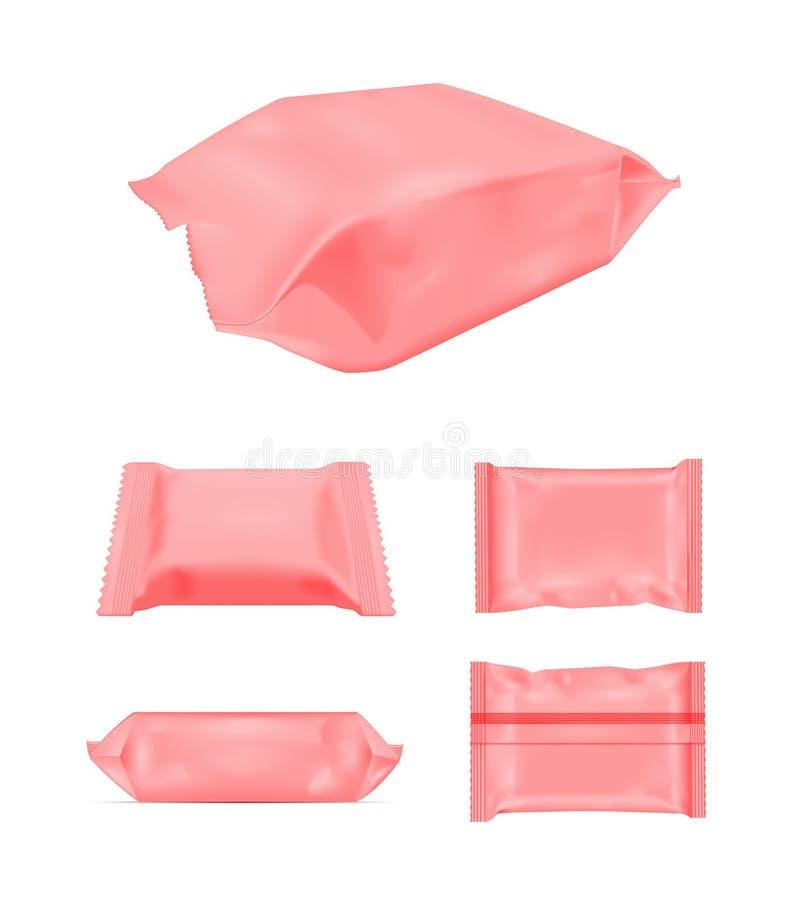 Paquet vide rouge de casse-croûte de nourriture d'aluminium pour les frites, la sucrerie et d'autres produits Mouillez l'empaquet illustration de vecteur
