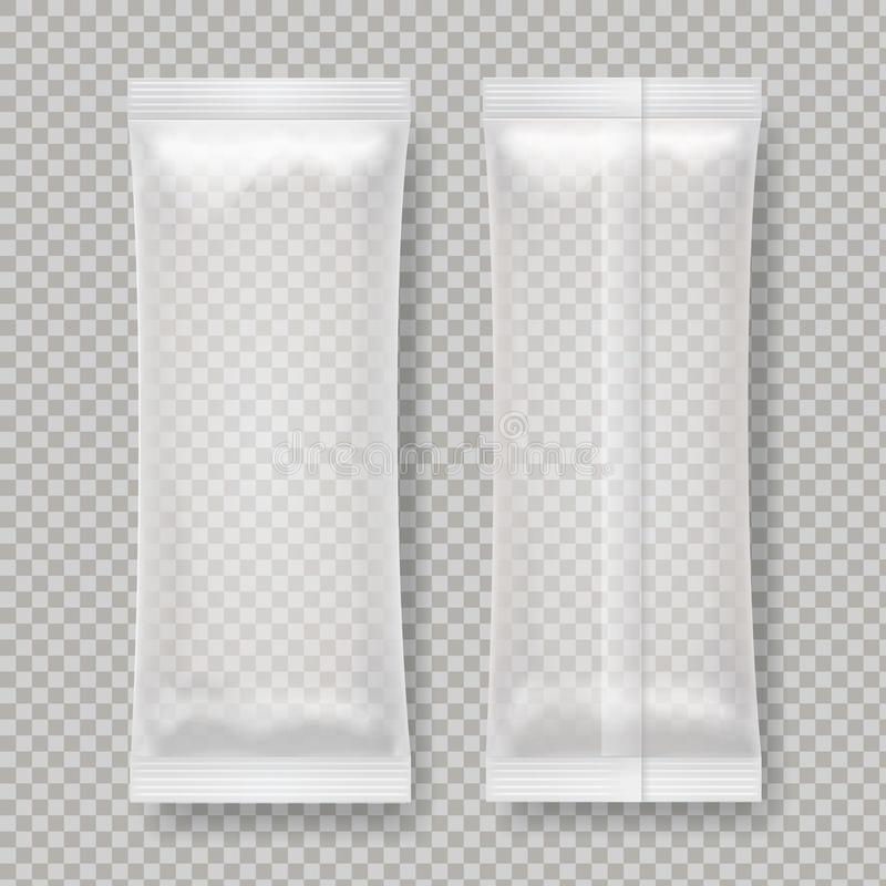 Paquet vide transparent de nourriture d'aluminium pour le casse-croûte, barre de chocolat, sucre illustration libre de droits