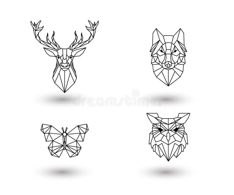 Paquete animal poligonal del diseño libre illustration