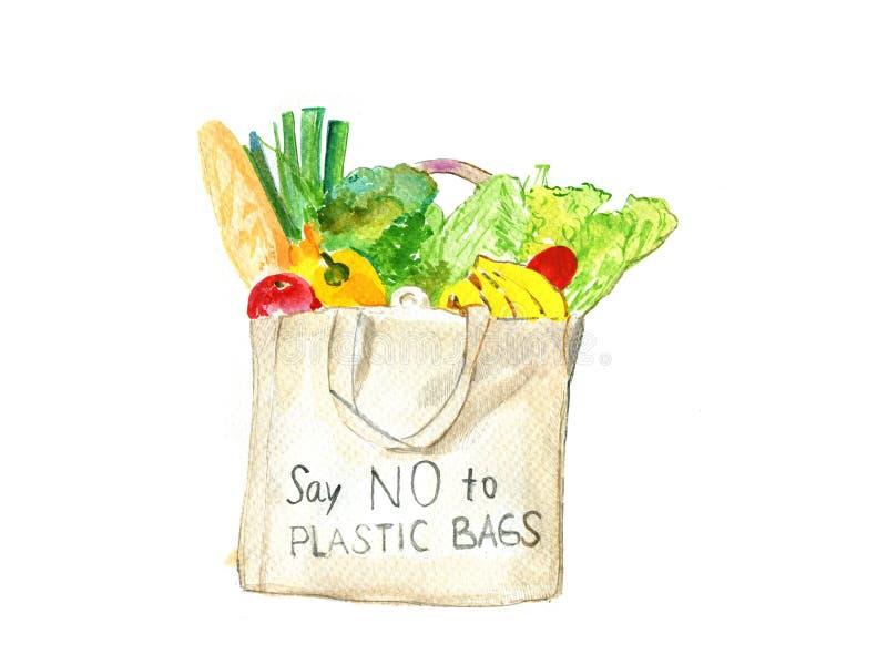 Paquete biodegrable de la comida de los ejemplos de la acuarela stock de ilustración