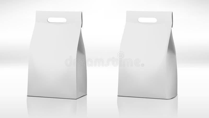Paquete blanco claro de la bolsa de papel del arte con la manija libre illustration
