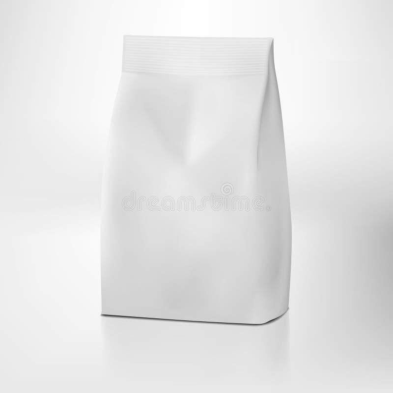 Paquete blanco claro de la bolsa de papel del arte sin la manija stock de ilustración