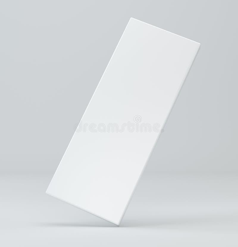 Paquete blanco en blanco en fondo gris plantilla de la caja del ejemplo 3d ilustración del vector
