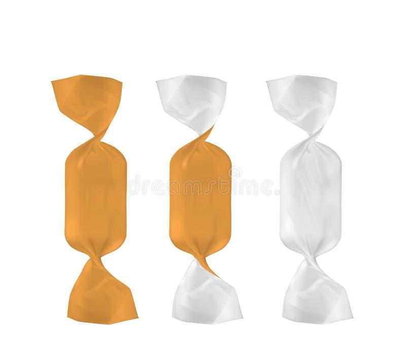 Paquete blanco y anaranjado del bocado de la comida de la hoja para el caramelo y otros productos libre illustration