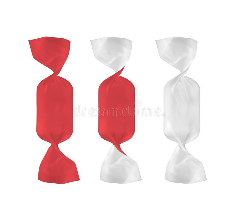 Paquete blanco y rojo del bocado de la comida de la hoja para el caramelo y otros productos ilustración del vector