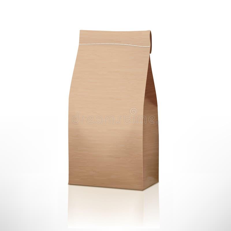 Paquete claro de la bolsa de papel del arte aislado en blanco ilustración del vector