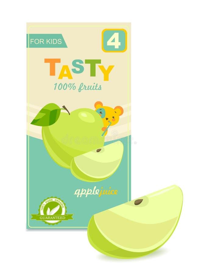 Paquete colorido del jugo del bebé, rebanada de manzana Vector imagen de archivo