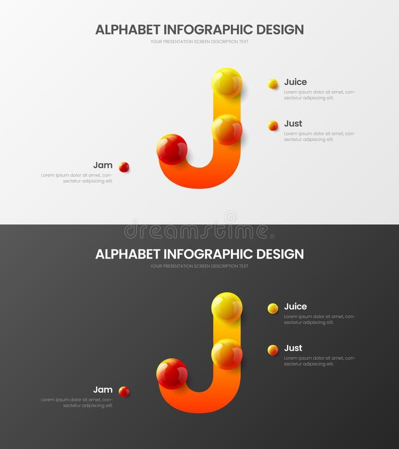 Paquete colorido realista infographic de la presentación de las bolas 3D del símbolo del alfabeto J de la opción del vector 3 del libre illustration