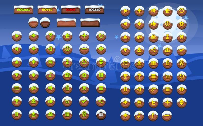 Paquete completo del botón del juego de la Navidad libre illustration