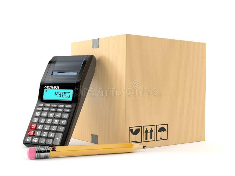 Paquete con la calculadora y el lápiz ilustración del vector