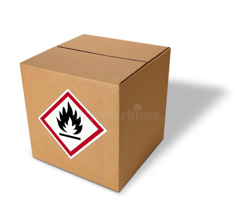 Paquete con la etiqueta inflamable en frente fotografía de archivo libre de regalías