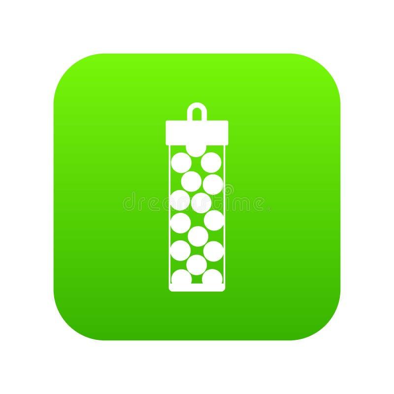 Paquete con verde digital del icono de las balas de Paintball ilustración del vector