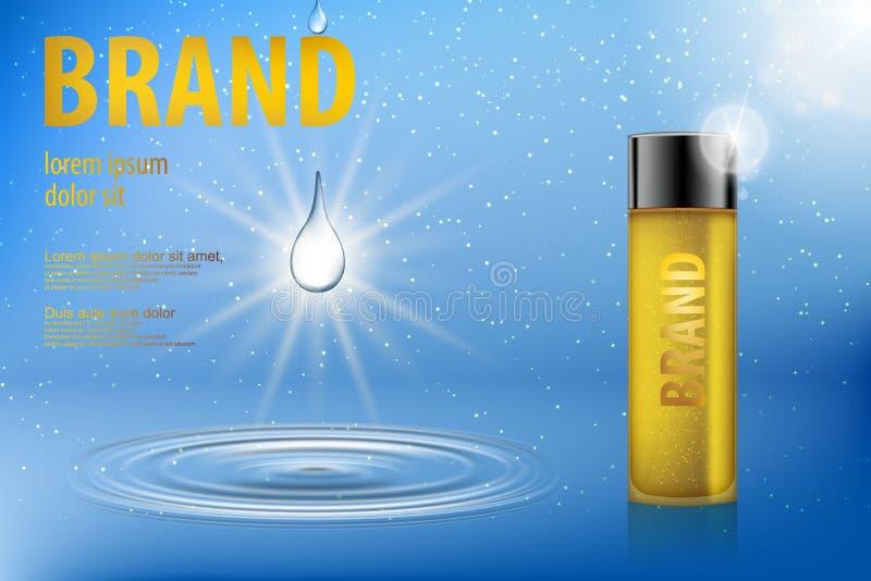 Paquete cosmético para su diseño y publicidad Plantilla amarilla cosmética de la botella de cristal en fondo azul del agua con ilustración del vector