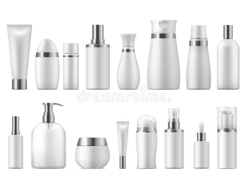 Paquete cosm?tico realista Maqueta en blanco del producto de la belleza del paquete 3D de los cosméticos blancos vacíos cosmético stock de ilustración