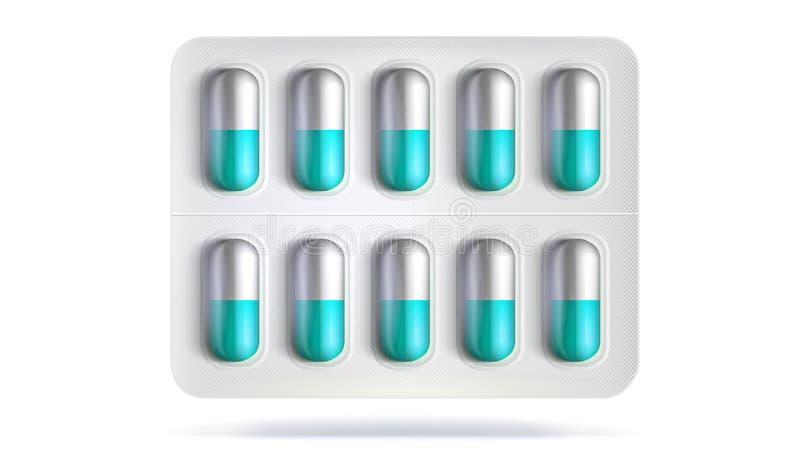 Paquete de ampolla con las píldoras para la enfermedad Plantilla realista del empaquetado para las drogas médicas para las tablet libre illustration