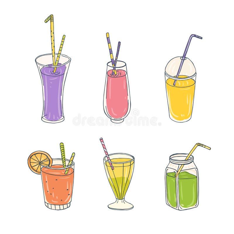 Paquete de bebidas sanas coloridas en diversos vidrios con la paja - smoothies, limonadas, jugos o cócteles Sistema de libre illustration