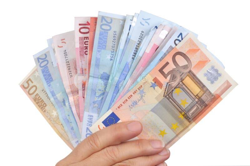 Paquete de billetes de banco a disposición foto de archivo