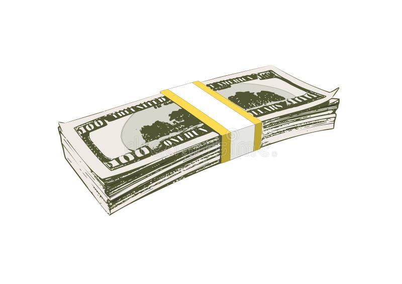 Paquete de billetes de banco para cientos dólares ilustración del vector