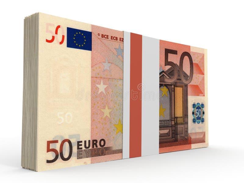 Paquete de billetes de banco Cincuenta euros ilustración del vector