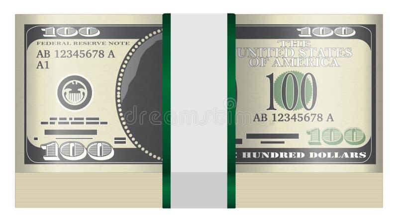 Paquete de $100 billetes de banco en un fondo blanco stock de ilustración