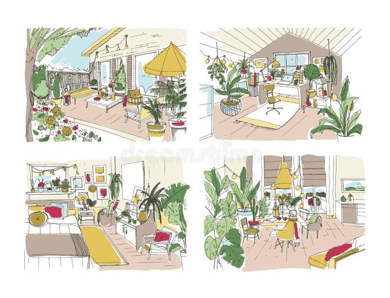 Paquete de bosquejos libres coloridos de la casa o del apartamento equipado en estilo escandinavo Sistema de cuartos por completo ilustración del vector