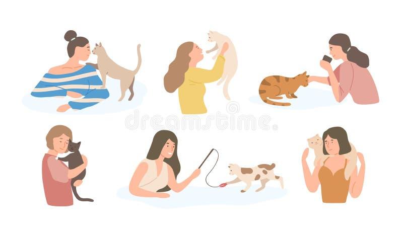 Paquete de chicas jóvenes bonitas y sus de gatos aislados en el fondo blanco Sistema de los retratos de los dueños adorables del  stock de ilustración
