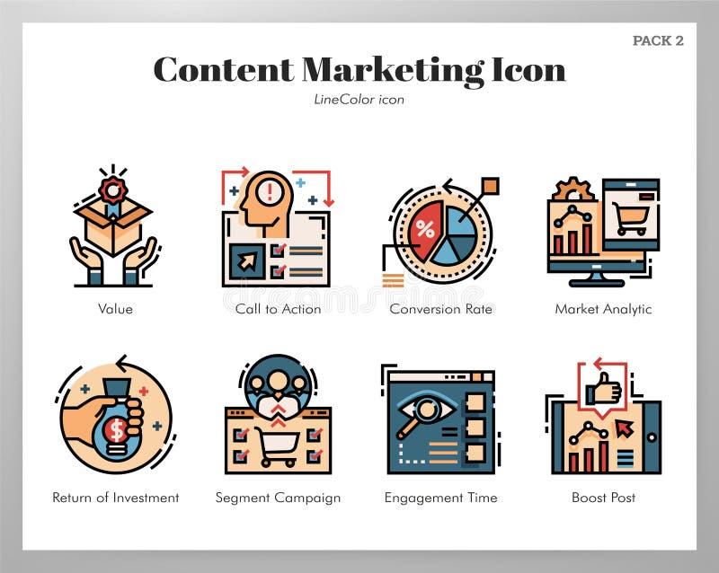 Paquete de comercialización contento de LineColor de los iconos ilustración del vector