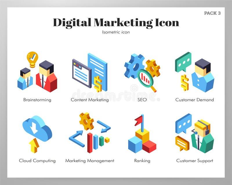Paquete de comercialización de Isometic de los iconos de Digitaces ilustración del vector